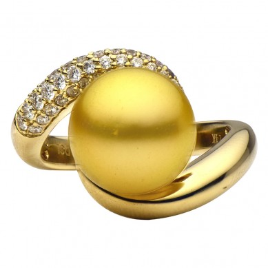14K Yellow Gold 11-12mm Tahitian Pearl & Diamond Ring (0.62 ct. tw.) - R002069 - Small Image
