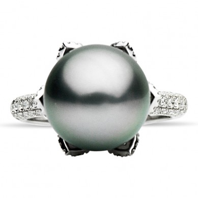 18K White Gold 11-12mm Tahitian Pearl & Diamond Ring (0.55 ct. tw.) - R002081 - Small Image