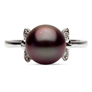 14K White Gold 9-10mm Tahitian Pearl & Diamond Ring (0.02 ct. tw.) - R002292 - Small Image