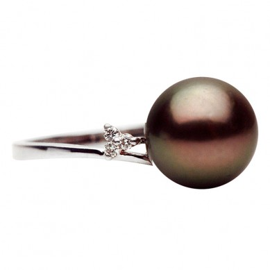 14K White Gold 9-10mm Tahitian Pearl & Diamond Ring (0.06 ct. tw.) - R002294 - Small Image