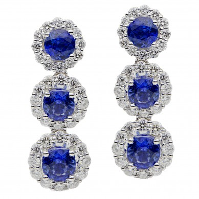 Sapphire and Diamond Earrings (6.21 ct. tw.) - SE003625 - Small Image